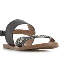 Dune - Black 'luma' Slingback Stud And Diamante Flat Sandals - Lyst