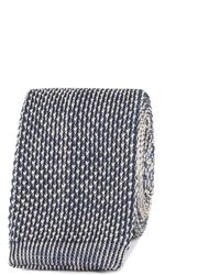 Gibson - Navy And Camel Textured Knitted Tie - Lyst