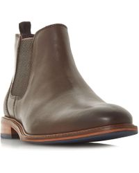 Dune - Brown 'mezut' Contrast Heel Chelsea Boots - Lyst