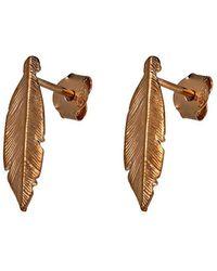 Azendi - Sterling Silver Rose Feather Stud Earrin - Lyst