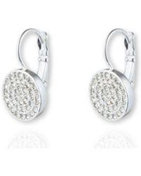 Anne Klein - Pave Drop Disc Button Earrings - Lyst