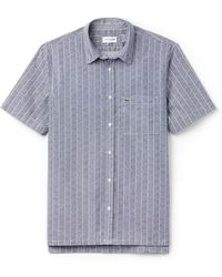 Lacoste - Men's Relaxed Fit Print Poplin Shirt - Lyst