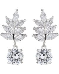 Mikey - Drop Leaf Cubic Stone Earring - Lyst