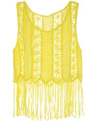 Jane Norman - Yellow Fringe Crochet Top - Lyst