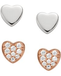 Fossil - Duo Heart Two-tone Sterling Silver Studs - Lyst