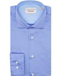 Ted Baker - Rosest Slim Fit Plain Poplin Shirt - Lyst