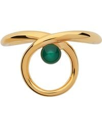 Links of London - Serpentine Gold & Green Chalcedony Ring - Lyst