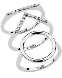 KENZO | 24909110805 Sterling Silver And Cz Ring | Lyst