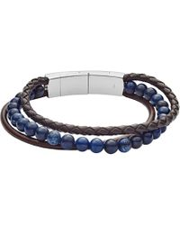 Fossil - Vintage Casual Leather And Bead Bracelet - Lyst