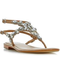 Dune - Nuevo Double Strap Embellished Sandals - Lyst