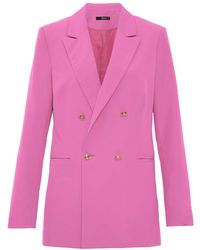 Quiz | Hot Pink Gold Button Detail Suit Jacket | Lyst