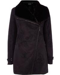 Weatherproof - Faux Shearling Asymmetrical Walker Jacket - Lyst