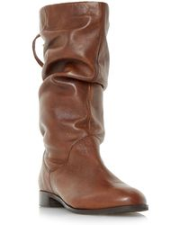 Dune - Tan 'rosalind' Slip On Ruched Calf Boots - Lyst
