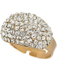 Mikey - Oblong Style Crystal Ring - Lyst