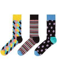 Happy Socks - Men's 3 Pack Stripe Dot & Brick Print Socks - Lyst