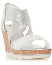 Dune - Kos Cross Strap High Wedge Heel Shoes - Lyst