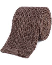 Gibson - Brown Honeycomb Textured Knitted Tie - Lyst