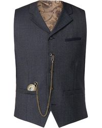 Gibson - Men's Dark Blue Brushed Check Waistcoat - Lyst