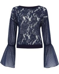 Free People - Something Like Love Lace Top With Bell Sleeves - Lyst