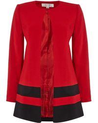 Tahari - Lightweight Topper Coat With Black Striped Hem - Lyst