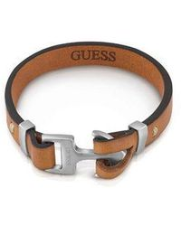 Guess | Men`s Leather Anchor Clasp Bracelet | Lyst