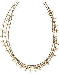 Anne Klein - Three Row Gold And Pearl Necklace - Lyst