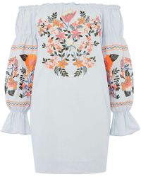 Free People - Fleur De Jour Bardot Dress With Embroidery - Lyst