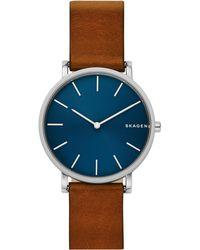 Skagen - Hagen Slim Brown Leather Strap Watch - Lyst