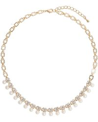 Mikey - Hanging Pearl Crystal Linked Necklace - Lyst