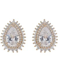 Mikey - Oval Cubic Edged Stud Earring - Lyst