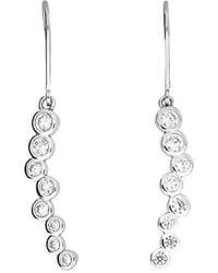 Azendi - Silver & Cz Eternity Drop Earrings - Lyst