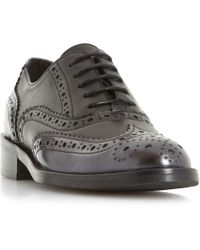 Dune Black - Fariston Stud Detail Lace Up Brogue Shoes - Lyst
