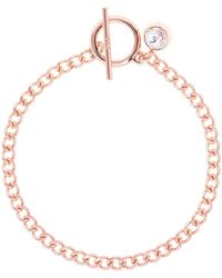 Karen Millen - Quantum Rose Gold Crystal T-bar Bracelet - Lyst