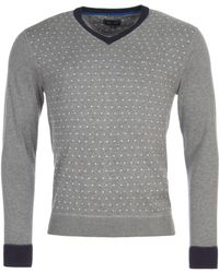 Eden Park - Polkadot Cotton V-neck Jumper - Lyst