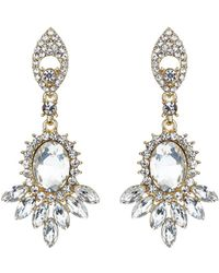 Mikey - Twin Drop Oval Spike Crystal Earring - Lyst