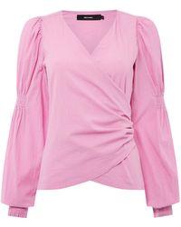 Vero Moda | Long Rouched Sleeve Silja Wrap Top | Lyst
