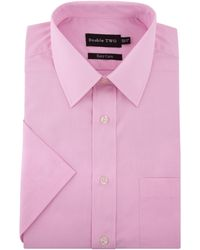 Double Two - Plain Classic Fit Short Sleeve Formal Shirt - Lyst