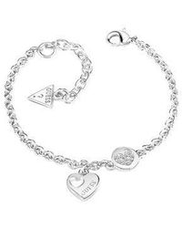 Guess - Heart Devotion Sparkle Coin Bracelet - Lyst