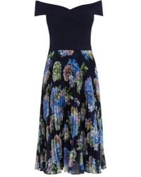 Oasis - Hydrangea Bardot Pleat Midi Dress - Lyst