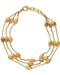 Links of London - Essentials Gold Beaded 3 Row Bracelet - Lyst