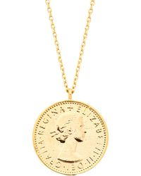 Estella Bartlett - Lucky 6 Pence Necklace Gold Plated - Lyst