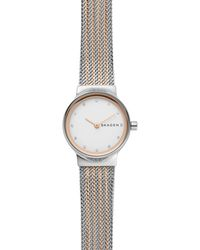 Skagen - Freja Two-tone Steel-mesh Bracelet Watch - Lyst