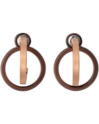 Pilgrim - Rose Gold And Brown Plated Earrings - Lyst