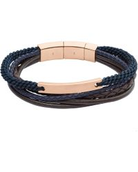 Fossil - Gents Rose And Navy Layered Bracelet - Lyst