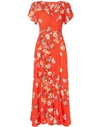 Free People - Jess Cap Sleeve Wrap Floral Maxi Dress - Lyst