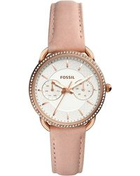 Fossil - Tailor Multifunction Blush Leather Watch - Lyst