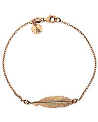 Azendi - Rose Gold Vermeil Feather Bracelet - Lyst