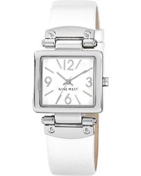 Nine West - Square Dial White Pu Strap Watch - Lyst
