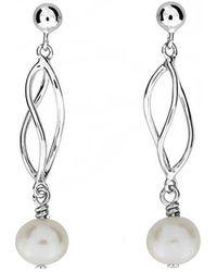 Azendi - Silver & Pearl Spirals Earrings - Lyst