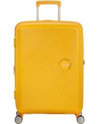 American Tourister   Soundbox Bass Yellow Hard Medium Spinner Case   Lyst